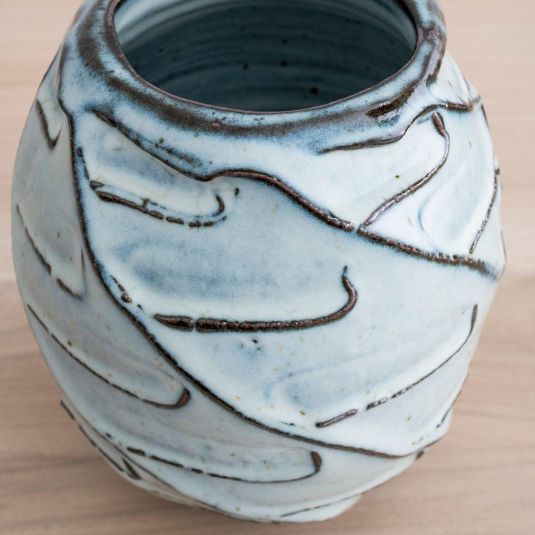 Scandinavian Modern Stoneware Vase with Nuka Glaze by Mats Svensson For Sale