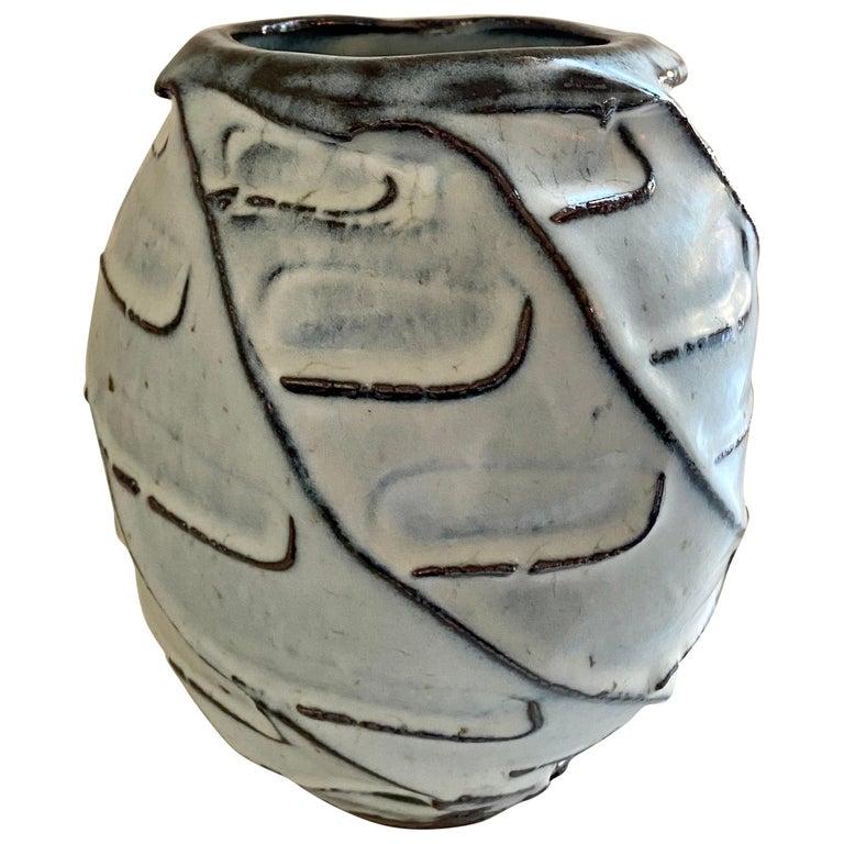 Stoneware Vase with Nuka Glaze by Mats Svensson For Sale