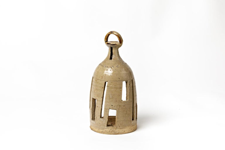 Mid-Century Modern Stoneware Vintage Ceramic Lantern Lamp by Jean Linard La Borne For Sale