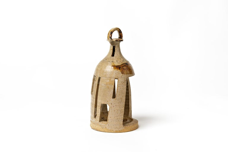 Stoneware Vintage Ceramic Lantern Lamp by Jean Linard La Borne In Excellent Condition For Sale In Neuilly-en- sancerre, FR