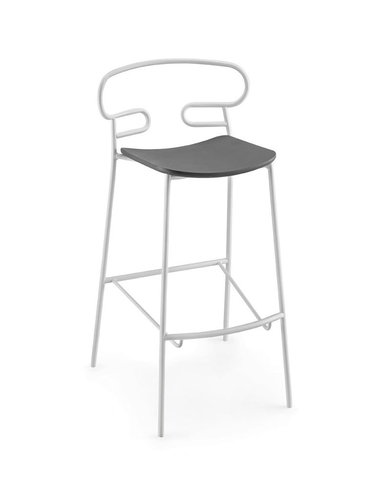Modern Stool Art, Genoa 0049 Metal Frame Varnishe and Polyurethane Seat Colors For Sale