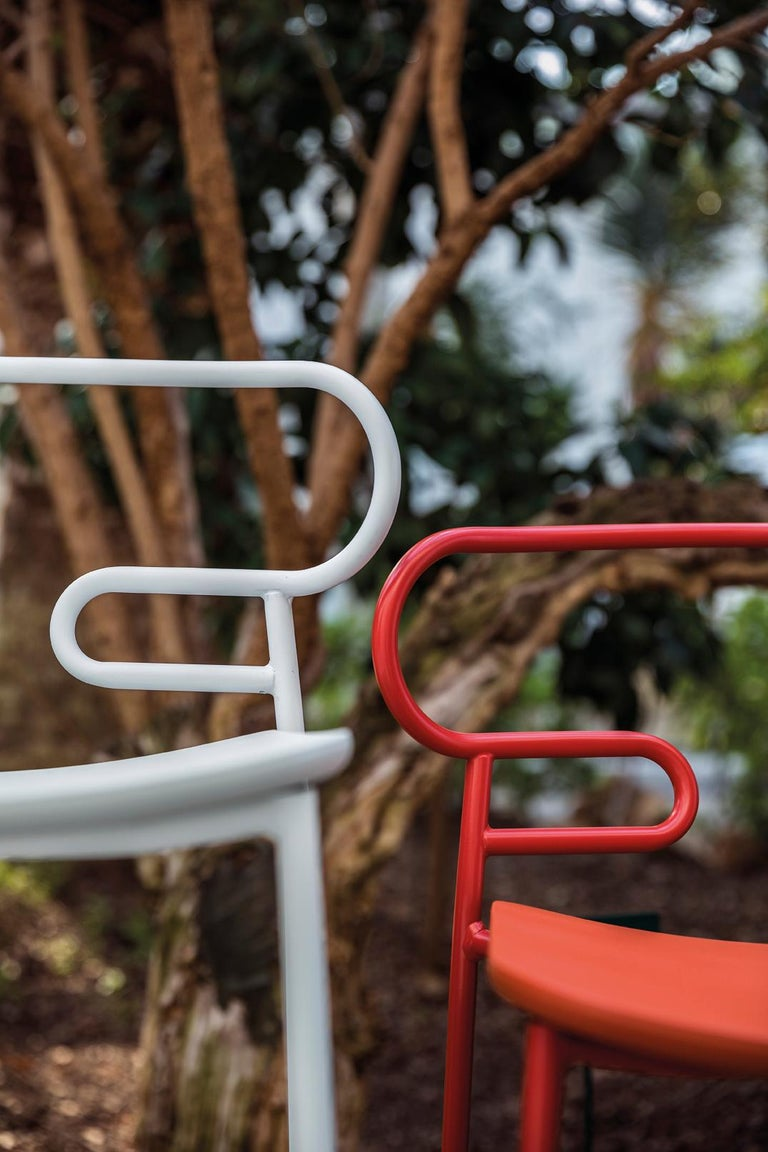 Italian Stool Art, Genoa 0049 Metal Frame Varnishe and Polyurethane Seat Colors For Sale