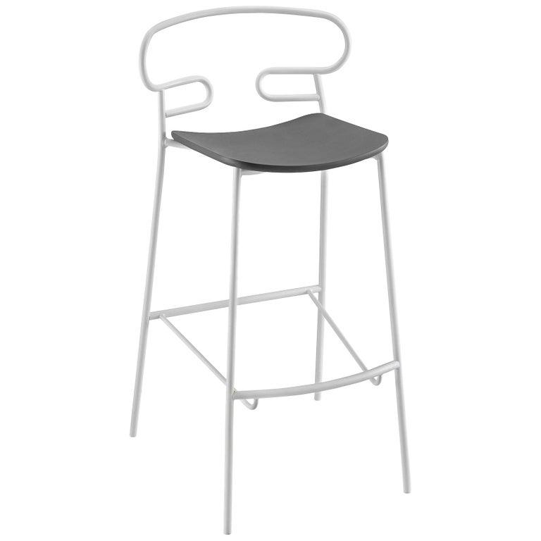Stool Art, Genoa 0049 Metal Frame Varnishe and Polyurethane Seat Colors For Sale