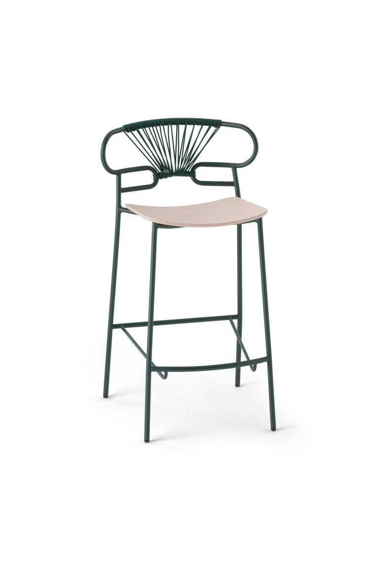 Stool Art 0049 Genoa Metal Frame Varnish and Back in Colors Rope In New Condition For Sale In MARANO VICENTINO, IT