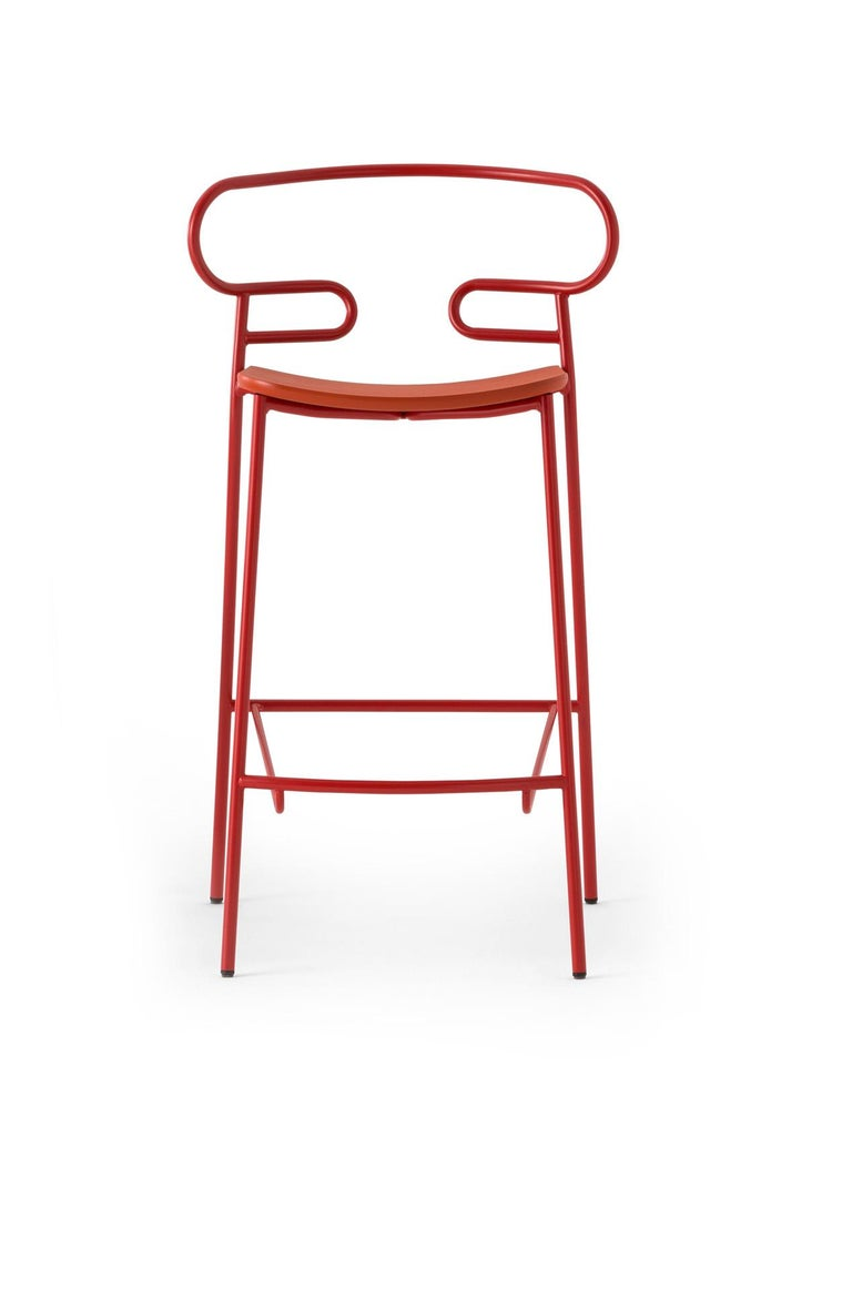 Contemporary Stool Art 0049 Genoa Metal Frame Varnish and Back in Colors Rope For Sale