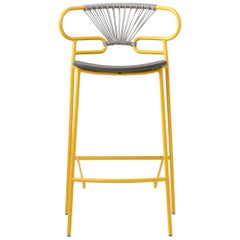 Stool Art 0049 Genoa Metal Frame Varnish and Back in Colors Rope