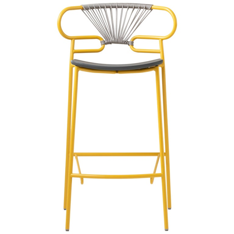 Stool Art 0049 Genoa Metal Frame Varnish and Back in Colors Rope For Sale