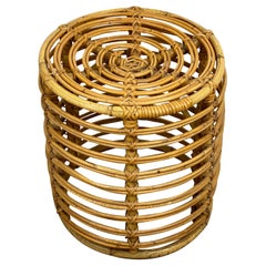 Stool Bamboo and Wicker, Pouf, Italy, 1960s