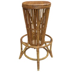 Stool bar in Rattan from 1960s, Italy