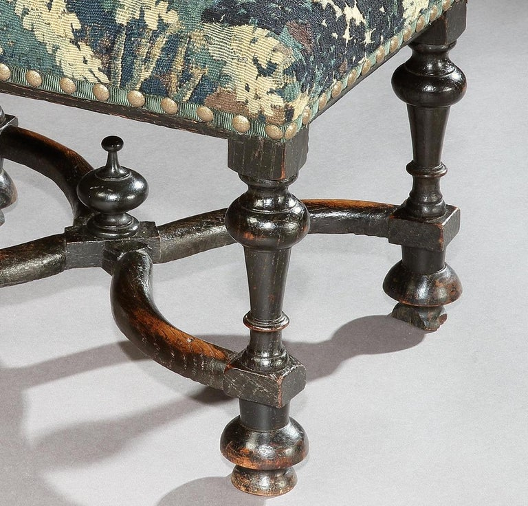 British Stool, Baroque, Upholstered, Oak, Ebonised, X Stretcher, Tapestry, Verdure Bird For Sale