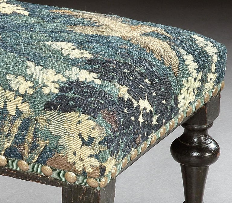 Stool, Baroque, Upholstered, Oak, Ebonised, X Stretcher, Tapestry, Verdure Bird In Good Condition For Sale In Eversholt, Bedfordshire