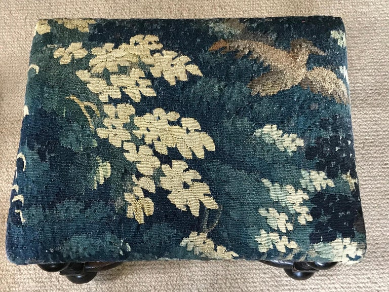 Late 17th Century Stool, Baroque, Upholstered, Oak, Ebonised, X Stretcher, Tapestry, Verdure Bird For Sale