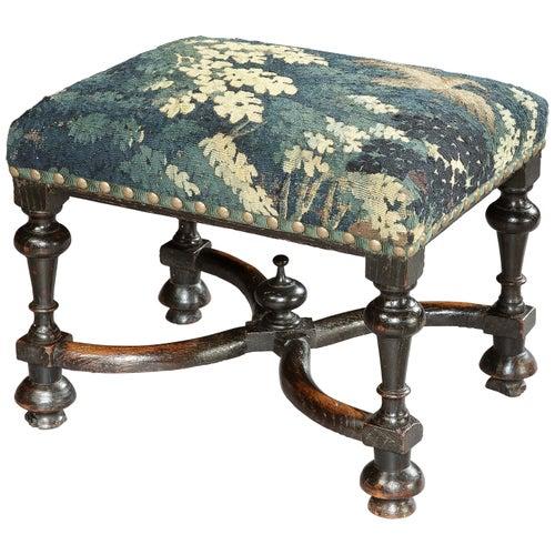 Stool, Baroque, Upholstered, Oak, Ebonised, X Stretcher, Tapestry, Verdure Bird