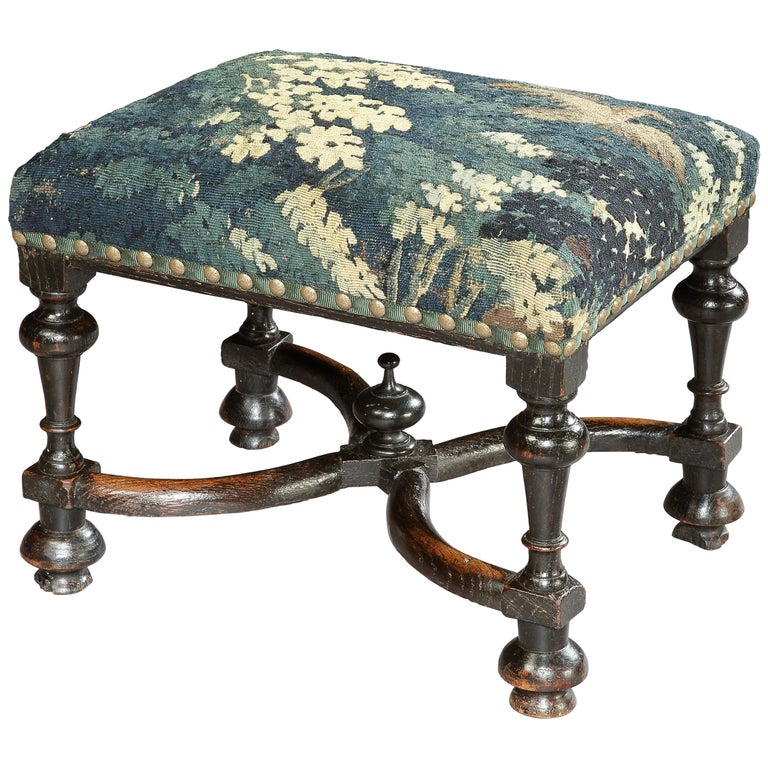 Stool, Baroque, Upholstered, Oak, Ebonised, X Stretcher, Tapestry, Verdure Bird For Sale