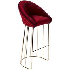 Stool Bay, Velvet Fabric, Bar Furniture, Italy