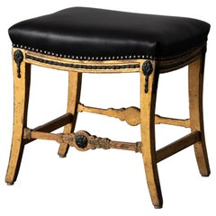 Stool Bench Swedish Neoclassical 18th Century Gilded Black Leather Sweden