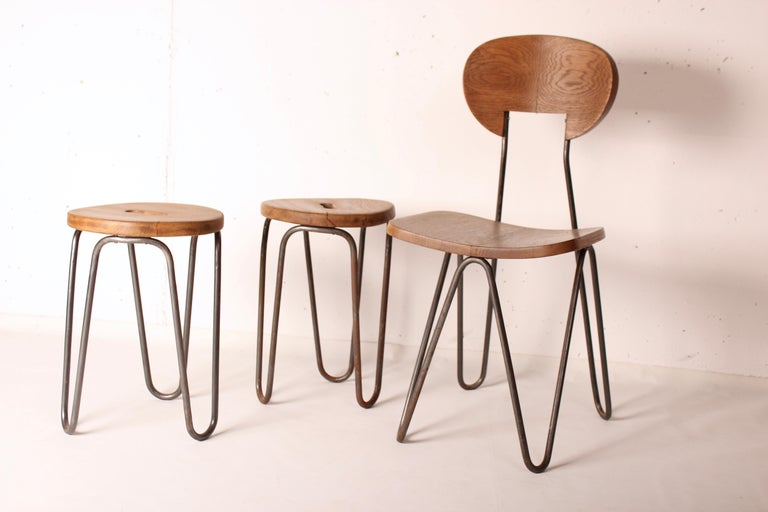 Stool by Cesar Janello for Raoul Guys Aa Éditions, 1947 For Sale 3
