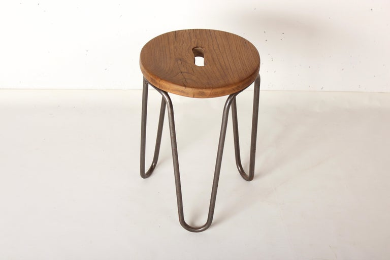Mid-Century Modern Stool by Cesar Janello for Raoul Guys Aa Éditions, 1947 For Sale