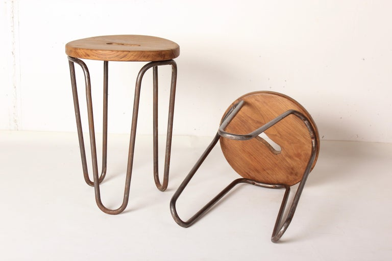 Wood Stool by Cesar Janello for Raoul Guys Aa Éditions, 1947 For Sale