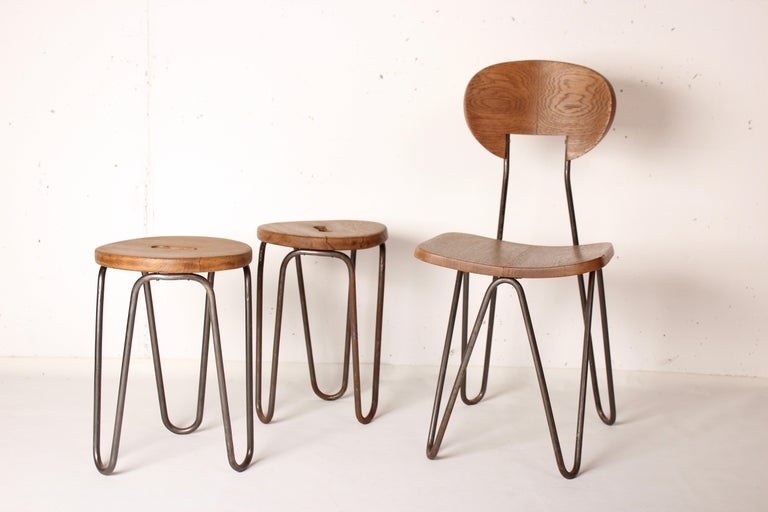 Stool by Cesar Janello for Raoul Guys Aa Éditions, 1947 For Sale 2