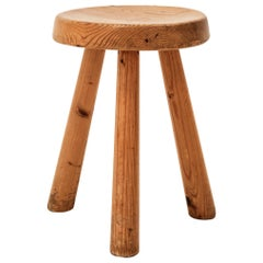 Stool by Charlotte Perriand, Les Arcs, Larch Wood, circa 1960, France
