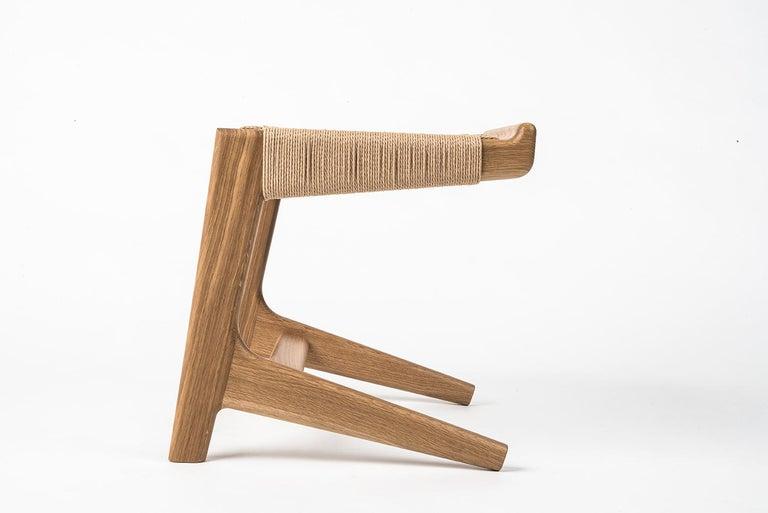 Stool, Cantilever, Danish Cord, Mid Century-Style, Hardwood, Woven, Hardwood For Sale 3