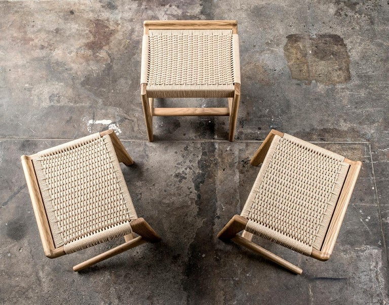 Stool, Cantilever, Danish Cord, Mid Century-Style, Hardwood, Woven, Hardwood For Sale 4