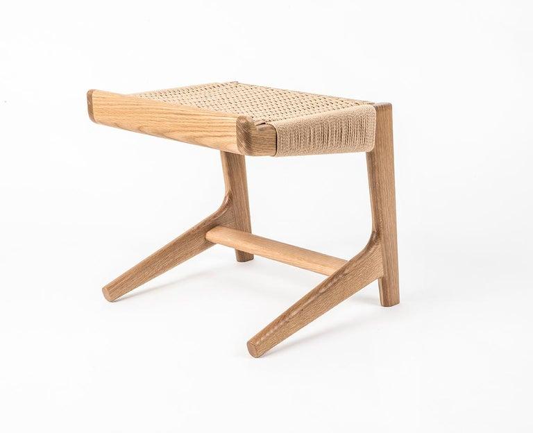 American Stool, Cantilever, Danish Cord, Mid Century-Style, Hardwood, Woven, Hardwood For Sale