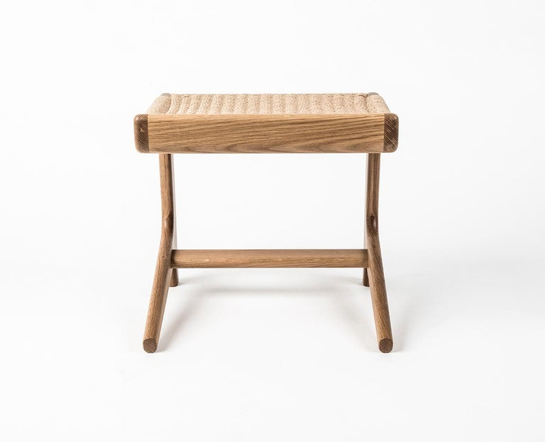 Hand-Crafted Stool, Cantilever, Danish Cord, Mid Century-Style, Hardwood, Woven, Hardwood For Sale