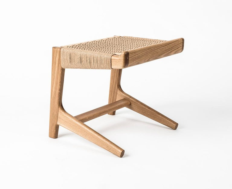 Stool, Cantilever, Danish Cord, Mid Century-Style, Hardwood, Woven, Hardwood In New Condition For Sale In Issaquah, WA