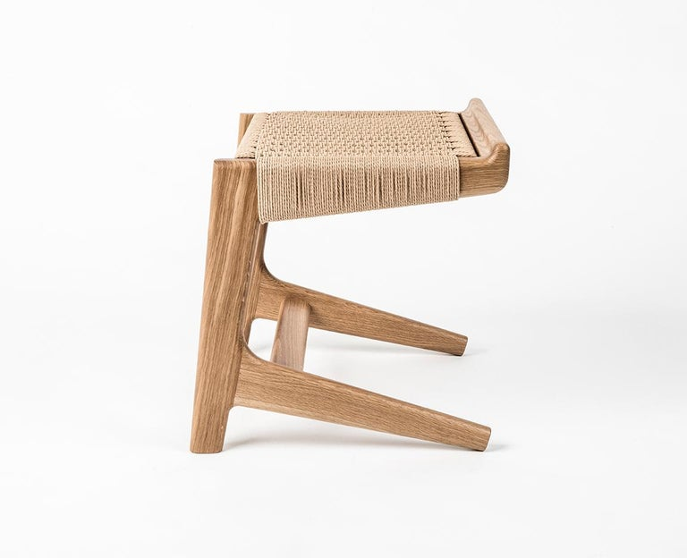Contemporary Stool, Cantilever, Danish Cord, Mid Century-Style, Hardwood, Woven, Hardwood For Sale