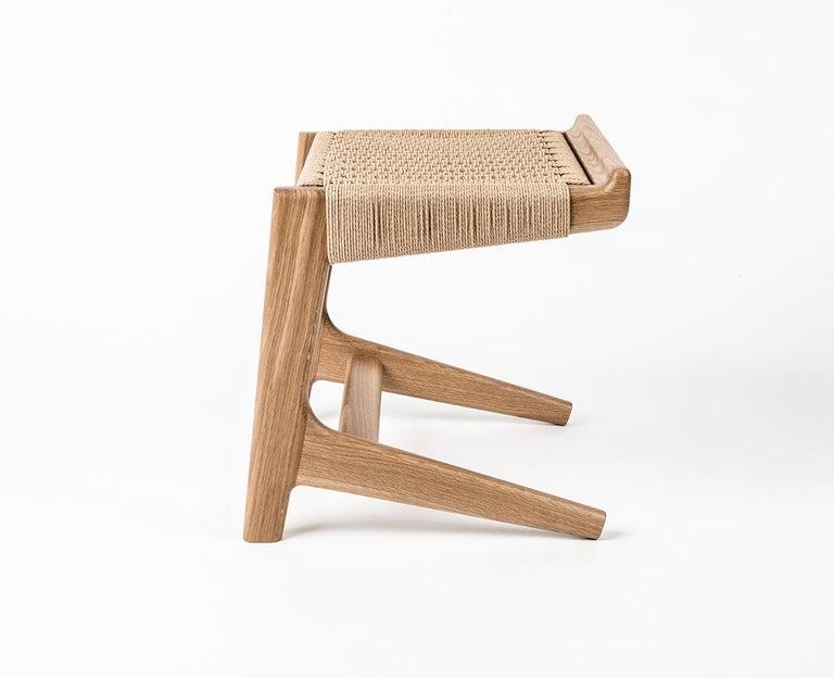 Stool, Cantilever, Danish Cord, Mid Century-Style, Hardwood, Woven, Hardwood For Sale 1
