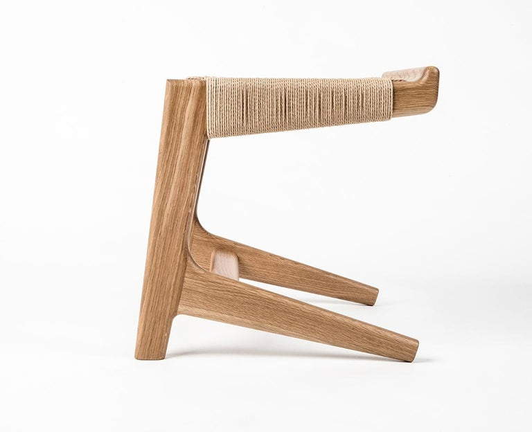Stool, Cantilever, Danish Cord, Mid Century-Style, Hardwood, Woven, Hardwood For Sale 2