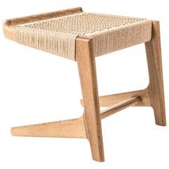 Stool, Cantilever, Danish Cord, Mid Century-Style, Hardwood, Woven, Hardwood