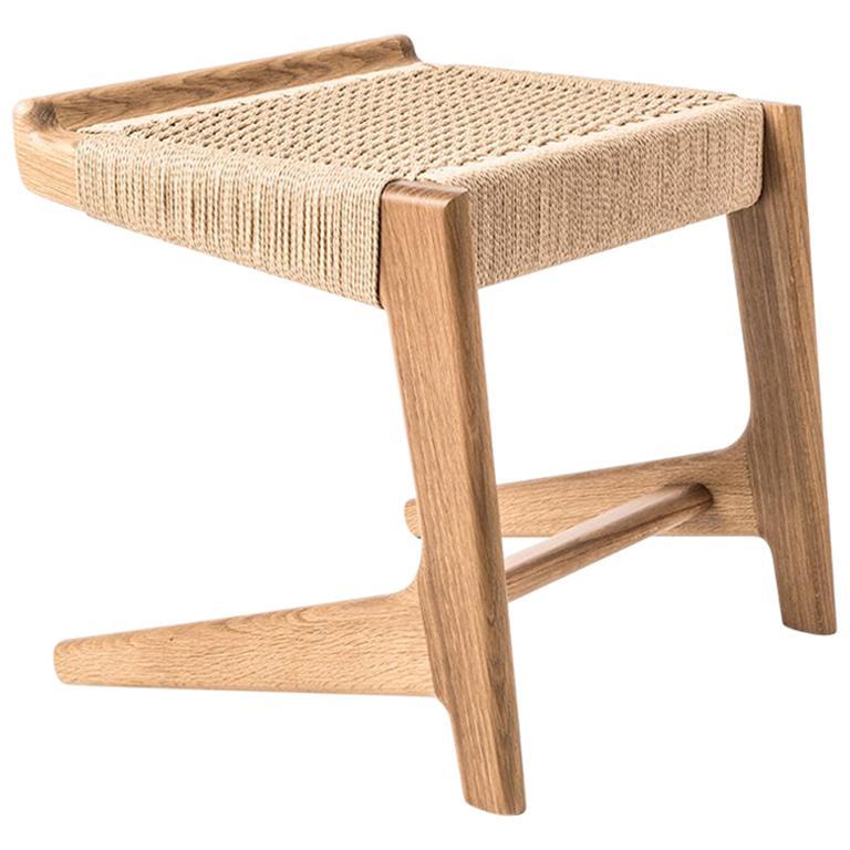 Stool, Cantilever, Danish Cord, Mid Century-Style, Hardwood, Woven, Hardwood For Sale