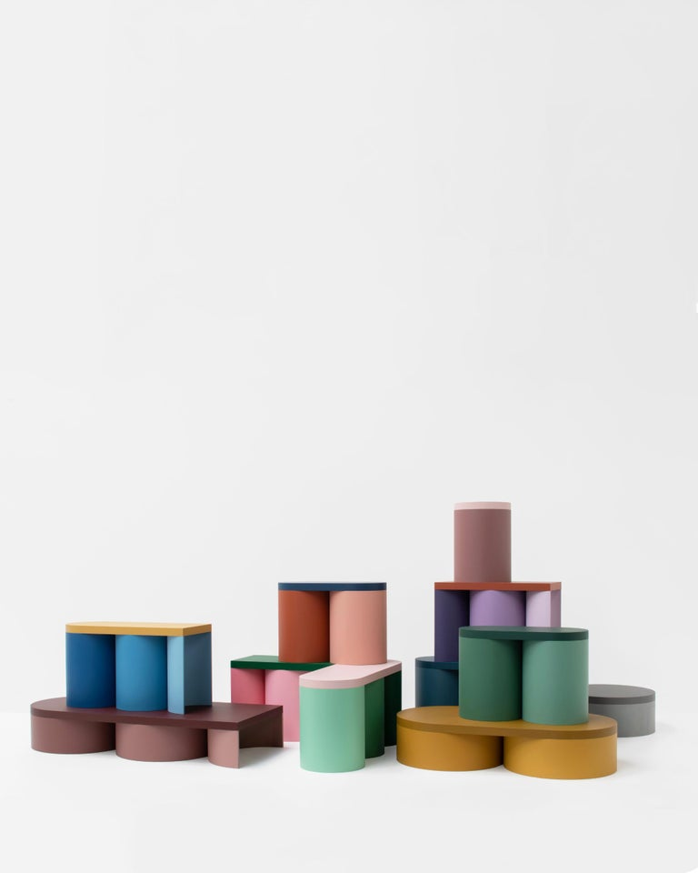 Painted Stool Colorful Design Modern Contemporary Seating Rounded Shapes Form Stool 4 For Sale