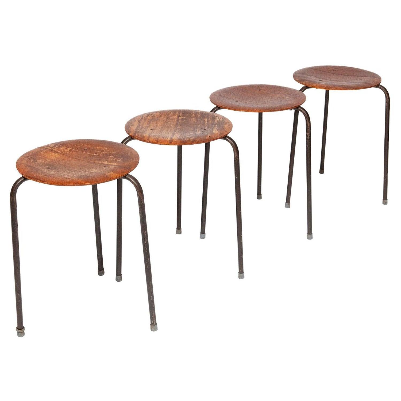 Stool Dot Stacking Teak Chrome 3 legs Arne Jacobsen Fritz Hansen 1955 Vintage