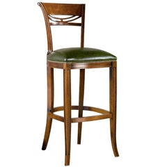 Green Leather Stool with Backrest