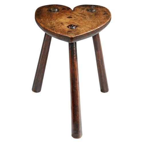 Stool Fruitwood Treen Heart Love Minature Folk Vernacular Commemorative Child's
