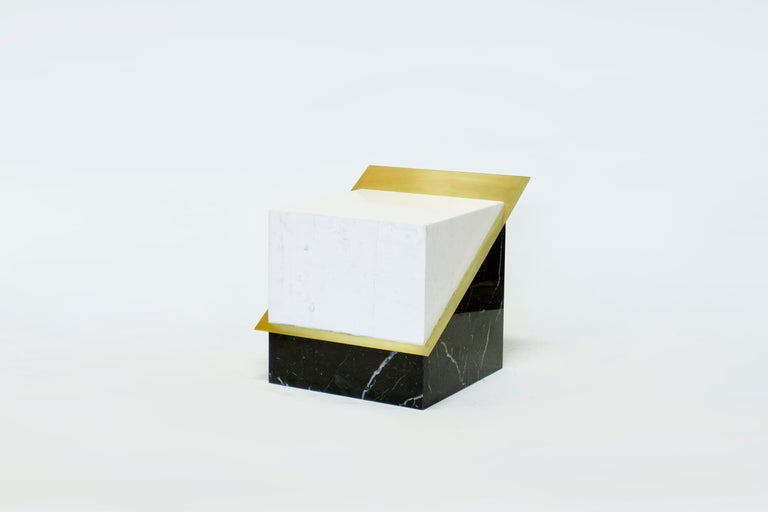Minimalist Stool in Black and White Marble and Brass, Limited Edition by O Formigueiro For Sale