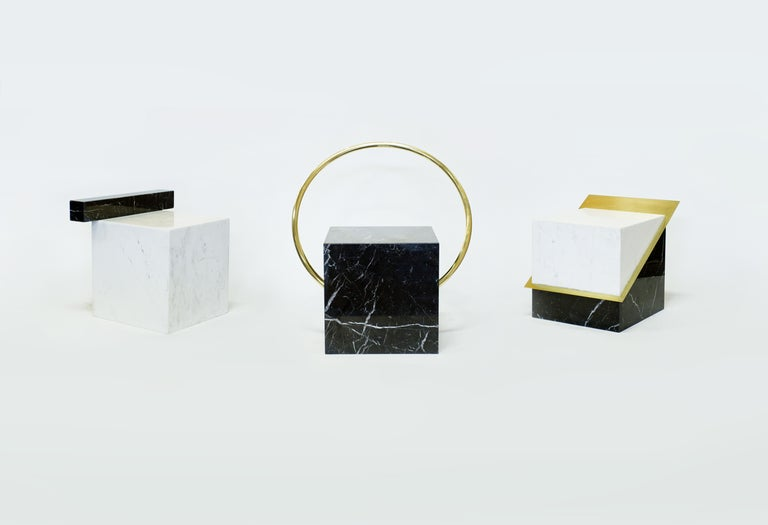 Brazilian Stool in Black and White Marble and Brass, Limited Edition by O Formigueiro For Sale