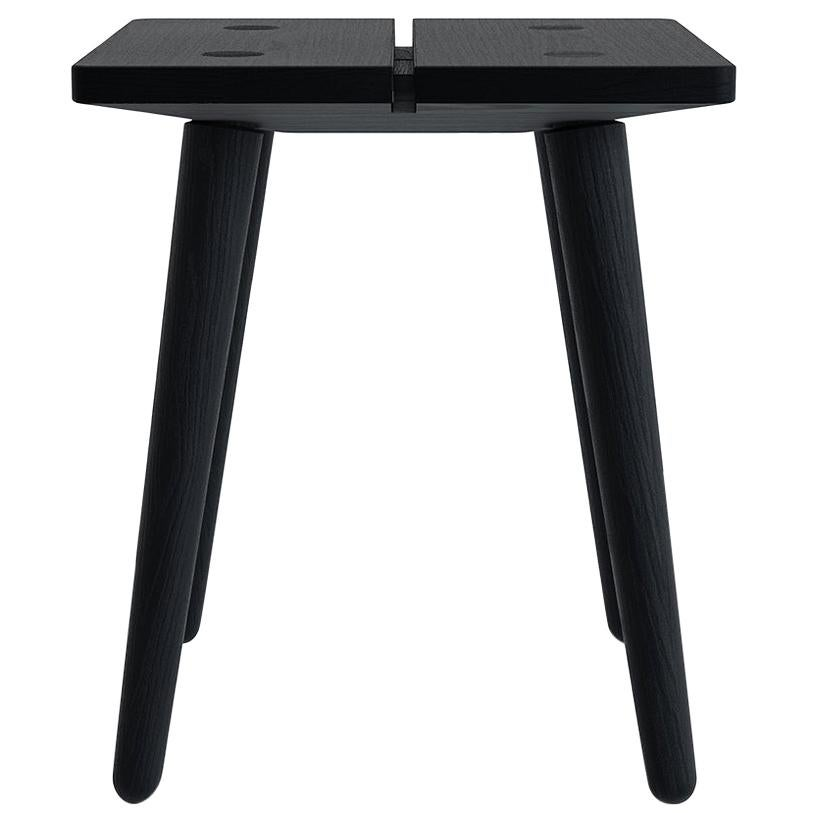 Swiss Stool in Black Ebonized Solid European Ash