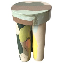 Stool in Hand-Built Glazed Ceramic by Katie Stout, 2018