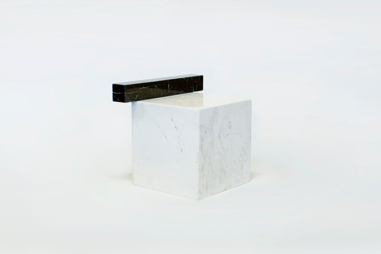 Minimalist Stool in Italian Black and White Marble, Limited Edition By O Formigueiro For Sale