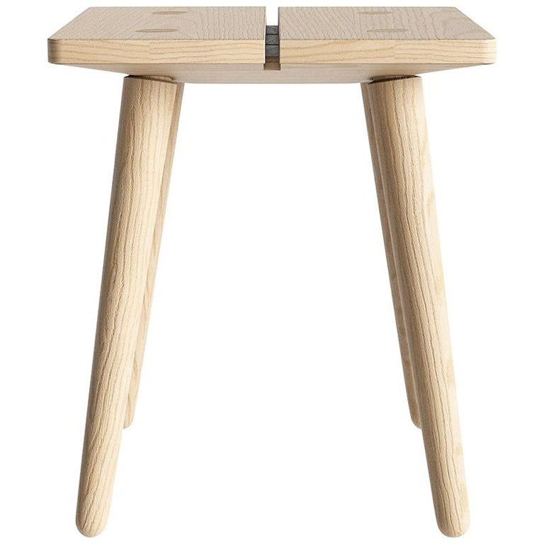 Swiss Stool in Natural Solid European Ash For Sale