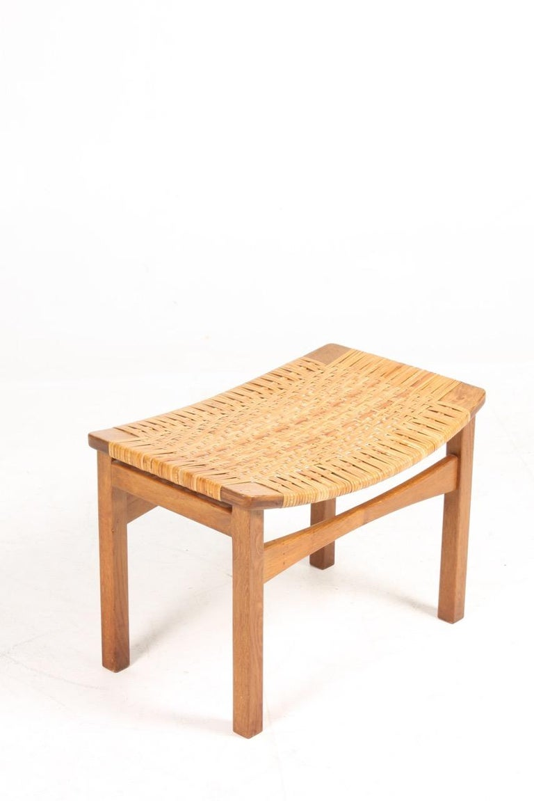 Mid-20th Century Stool in Oak and Cane Designed by Ejnar Larsen & Madsen, Danish Midcentury For Sale