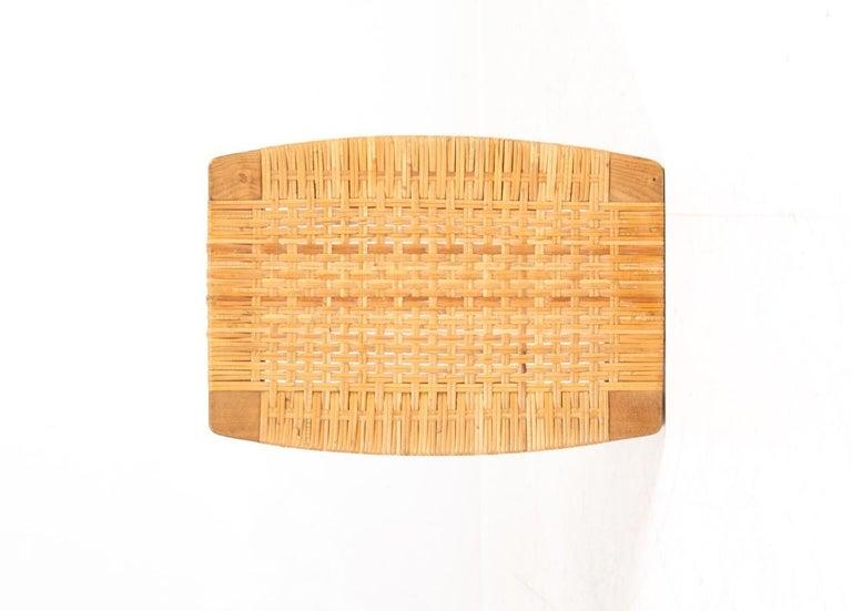 Stool in Oak and Cane Designed by Ejnar Larsen & Madsen, Danish Midcentury For Sale 1