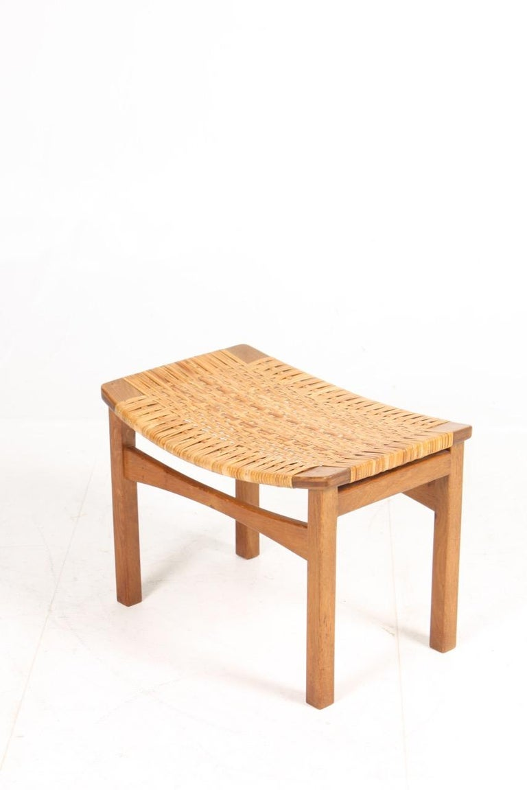 Stool in Oak and Cane Designed by Ejnar Larsen & Madsen, Danish Midcentury For Sale 2