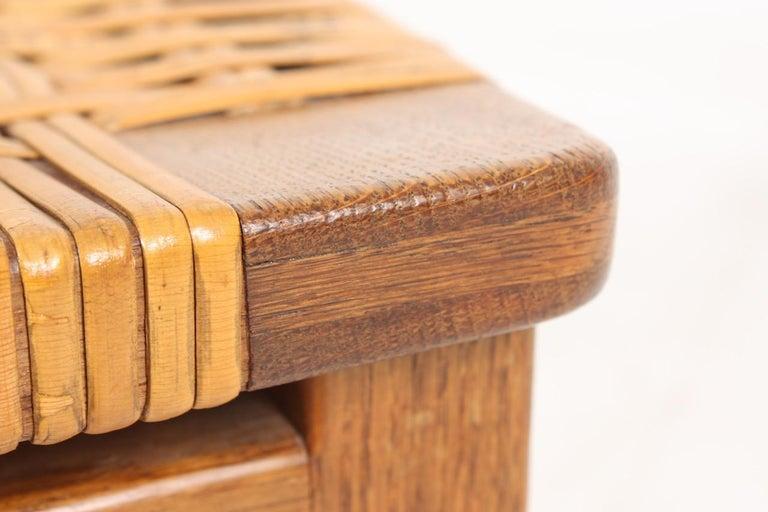 Stool in Oak and Cane Designed by Ejnar Larsen & Madsen, Danish Midcentury For Sale 3