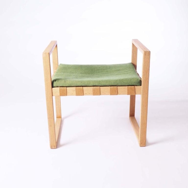 Scandinavian Modern Stool in Oak with Original Fabric by Åke Fribyter, Sweden For Sale